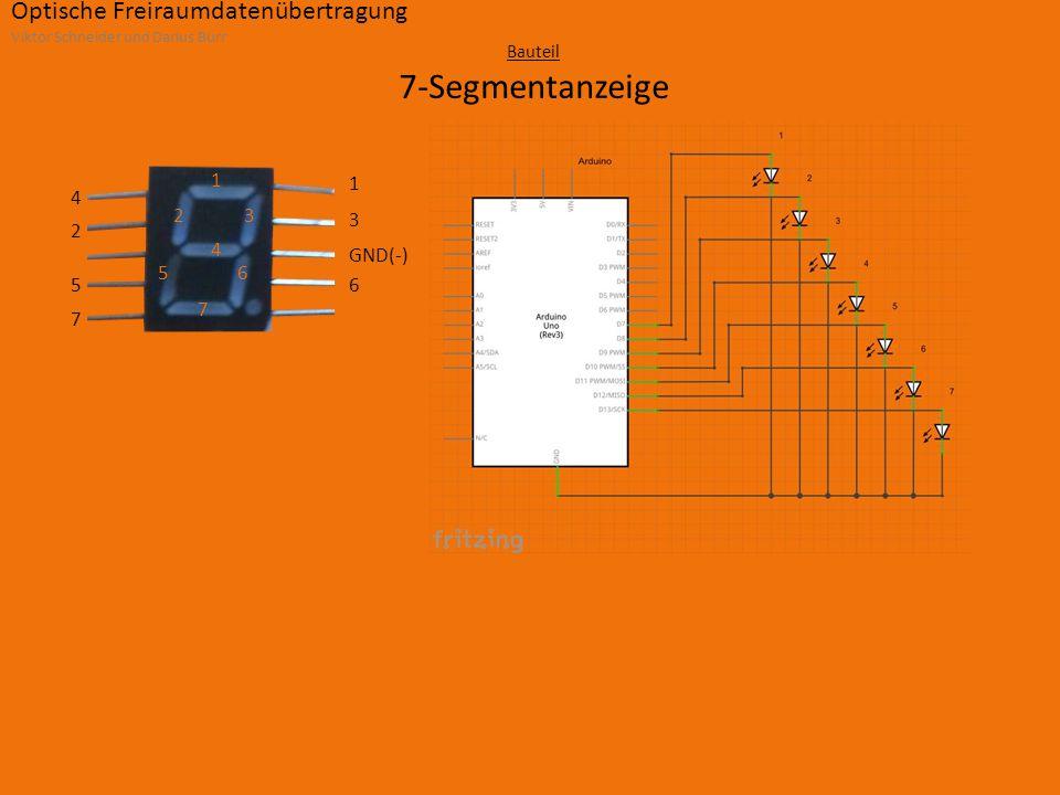 Optische Freiraumdatenübertragung Viktor Schneider und Darius Burr Bauteil 7-Segmentanzeige 1 23 4 56 7 7 5 2 4 6 GND(-) 3 1