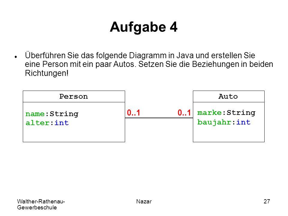 Walther-Rathenau- Gewerbeschule Nazar27 Aufgabe 4 Überführen Sie das folgende Diagramm in Java und erstellen Sie eine Person mit ein paar Autos. Setze