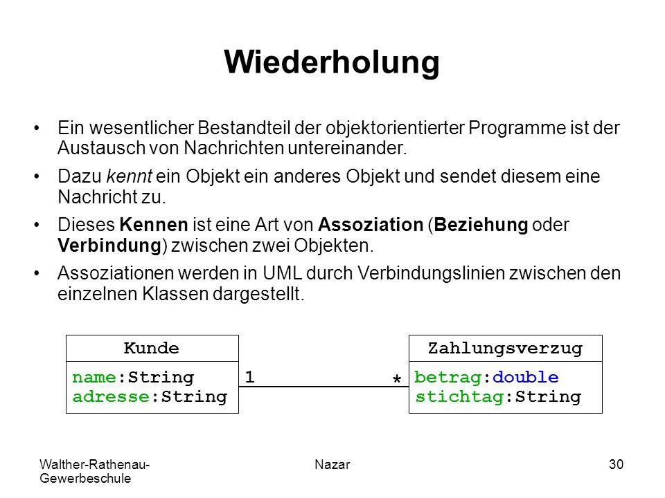 Walther-Rathenau- Gewerbeschule Nazar30 Wiederholung Ein wesentlicher Bestandteil der objektorientierter Programme ist der Austausch von Nachrichten u