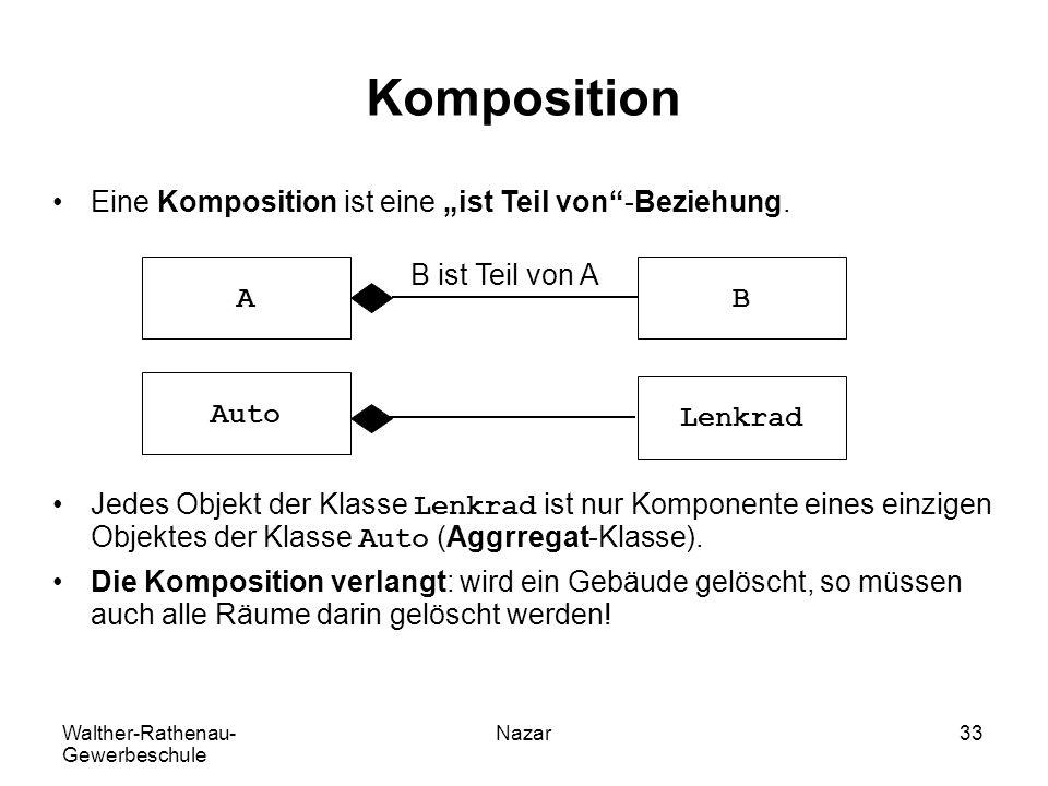 """Walther-Rathenau- Gewerbeschule Nazar33 Komposition Eine Komposition ist eine """"ist Teil von""""-Beziehung. Jedes Objekt der Klasse Lenkrad ist nur Kompon"""