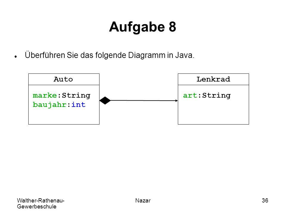 Walther-Rathenau- Gewerbeschule Nazar36 Aufgabe 8 Überführen Sie das folgende Diagramm in Java. Lenkrad art:String Auto marke:String baujahr:int