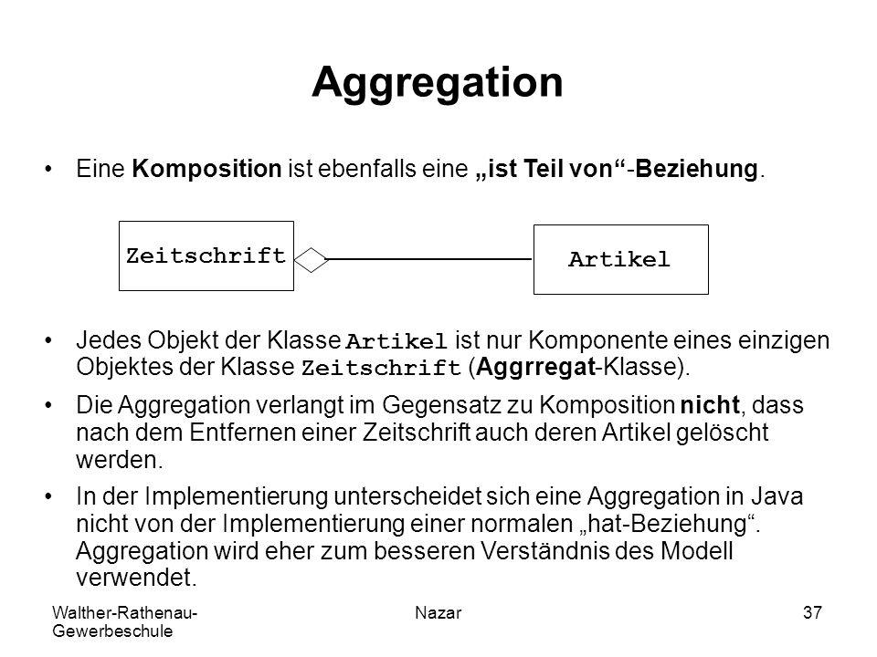 """Walther-Rathenau- Gewerbeschule Nazar37 Aggregation Eine Komposition ist ebenfalls eine """"ist Teil von""""-Beziehung. Jedes Objekt der Klasse Artikel ist"""