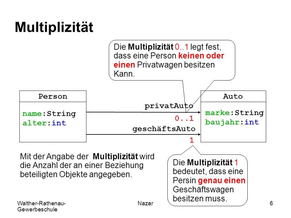 Walther-Rathenau- Gewerbeschule Nazar6 Multiplizität PersonAuto name:String alter:int marke:String baujahr:int privatAuto geschäftsAuto 0..1 1 Mit der