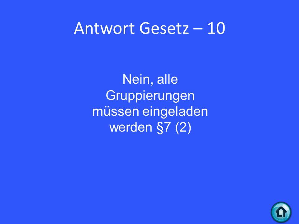 Antwort Gesetz – 10 Nein, alle Gruppierungen müssen eingeladen werden §7 (2)