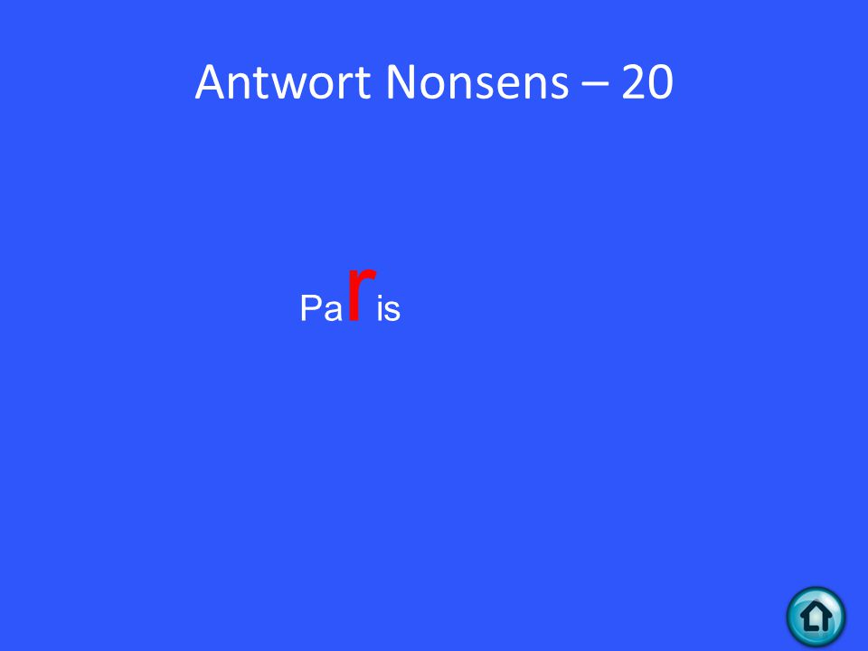 Antwort Nonsens – 20 Pa r is