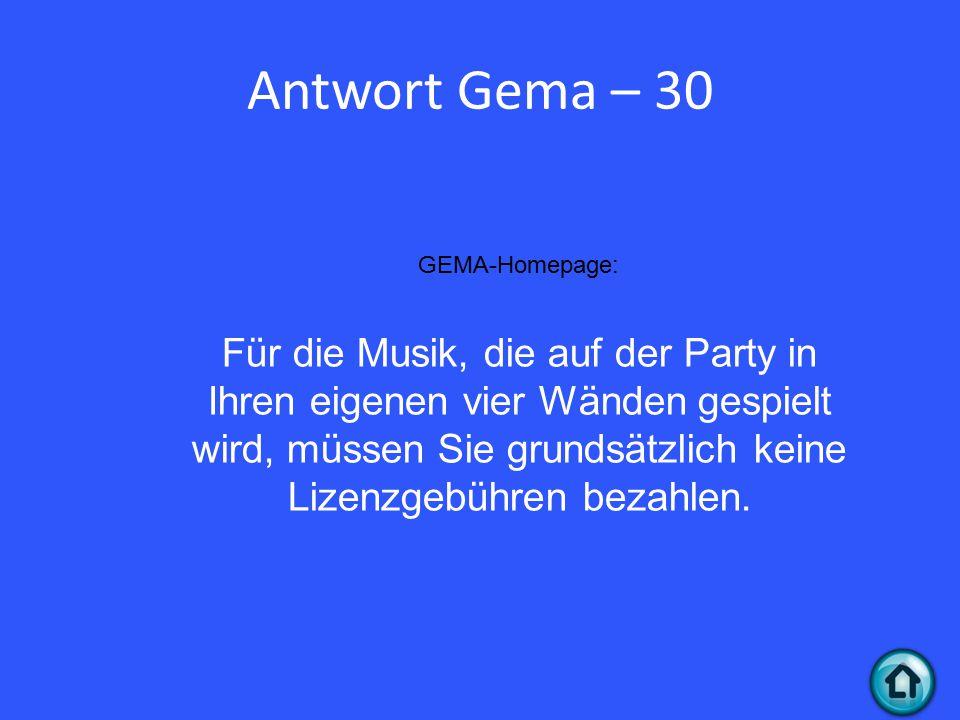 Antwort Gema – 30 GEMA-Homepage: Für die Musik, die auf der Party in Ihren eigenen vier Wänden gespielt wird, müssen Sie grundsätzlich keine Lizenzgebühren bezahlen.