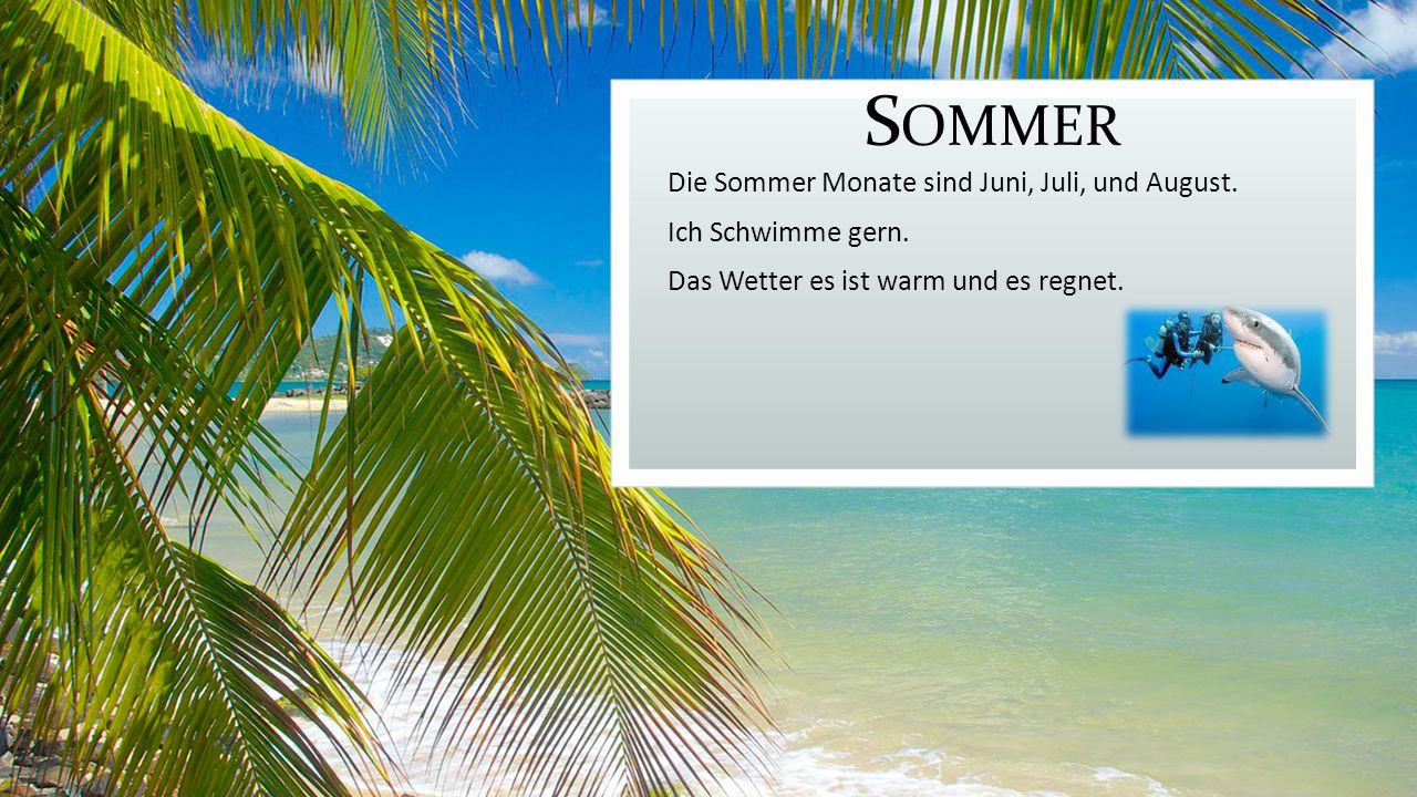S OMMER Die Sommer Monate sind Juni, Juli, und August.