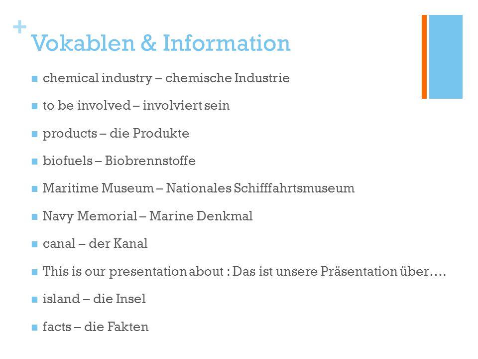 + Vokablen & Information chemical industry – chemische Industrie to be involved – involviert sein products – die Produkte biofuels – Biobrennstoffe Ma