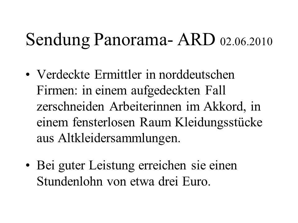 Sendung Panorama- ARD 02.06.2010 Verdeckte Ermittler in norddeutschen Firmen: in einem aufgedeckten Fall zerschneiden Arbeiterinnen im Akkord, in eine
