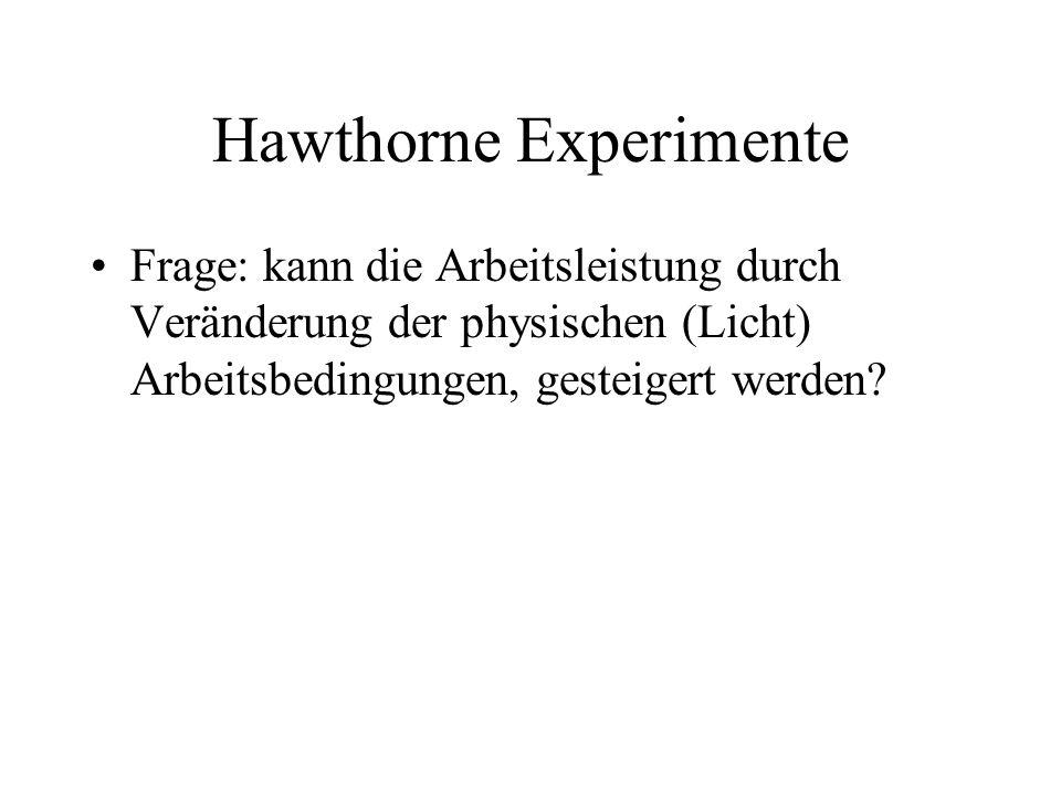 Hawthorne Experimente Frage: kann die Arbeitsleistung durch Veränderung der physischen (Licht) Arbeitsbedingungen, gesteigert werden?