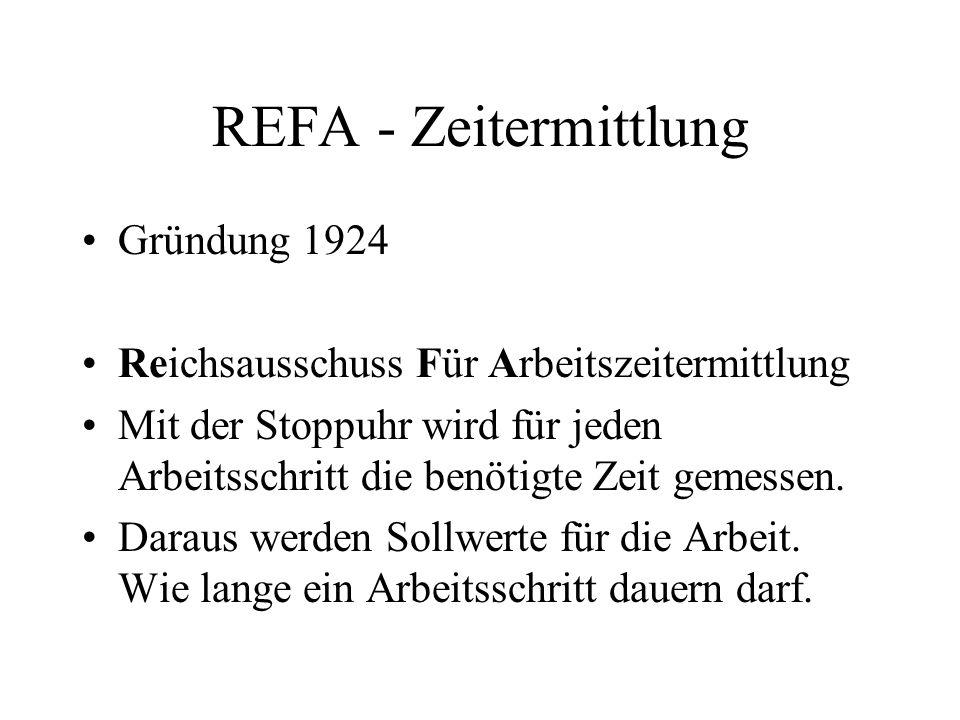 REFA - Zeitermittlung Gründung 1924 Reichsausschuss Für Arbeitszeitermittlung Mit der Stoppuhr wird für jeden Arbeitsschritt die benötigte Zeit gemess