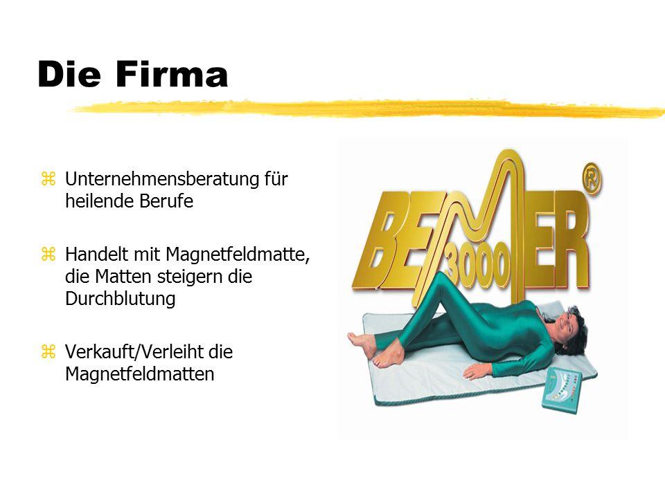 Die Firma zUnternehmensberatung für heilende Berufe zHandelt mit Magnetfeldmatte, die Matten steigern die Durchblutung zVerkauft/Verleiht die Magnetfeldmatten