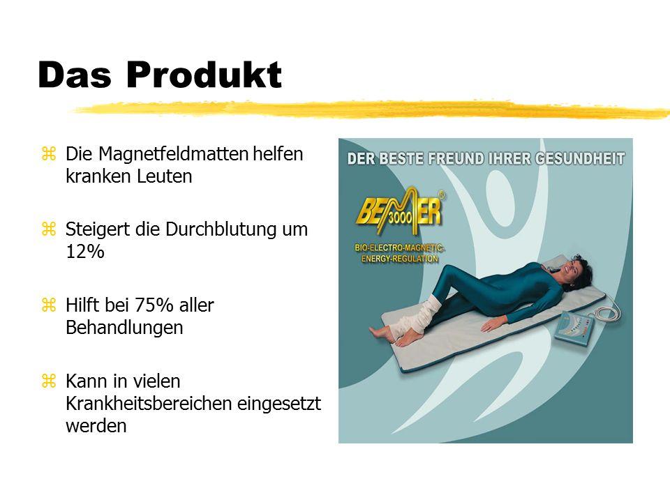 Das Produkt zDie Magnetfeldmatten helfen kranken Leuten zSteigert die Durchblutung um 12% zHilft bei 75% aller Behandlungen zKann in vielen Krankheitsbereichen eingesetzt werden