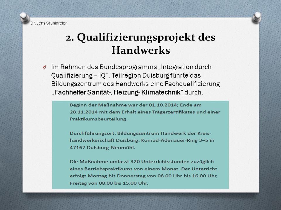 """2. Qualifizierungsprojekt des Handwerks O Im Rahmen des Bundesprogramms """"Integration durch Qualifizierung – IQ"""", Teilregion Duisburg führte das Bildun"""