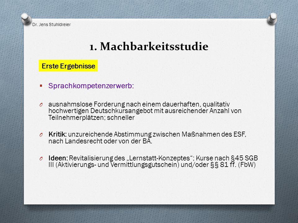 1. Machbarkeitsstudie  Sprachkompetenzerwerb: O ausnahmslose Forderung nach einem dauerhaften, qualitativ hochwertigen Deutschkursangebot mit ausreic