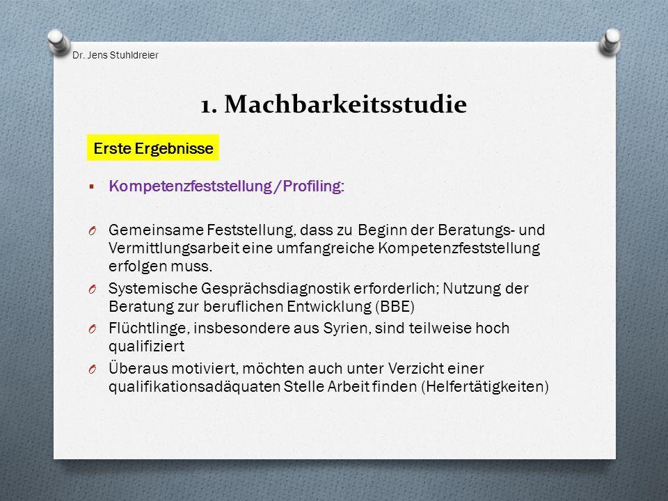 1. Machbarkeitsstudie  Kompetenzfeststellung /Profiling: O Gemeinsame Feststellung, dass zu Beginn der Beratungs- und Vermittlungsarbeit eine umfangr