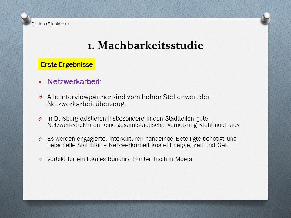 1. Machbarkeitsstudie  Netzwerkarbeit: O Alle Interviewpartner sind vom hohen Stellenwert der Netzwerkarbeit überzeugt. O In Duisburg existieren insb