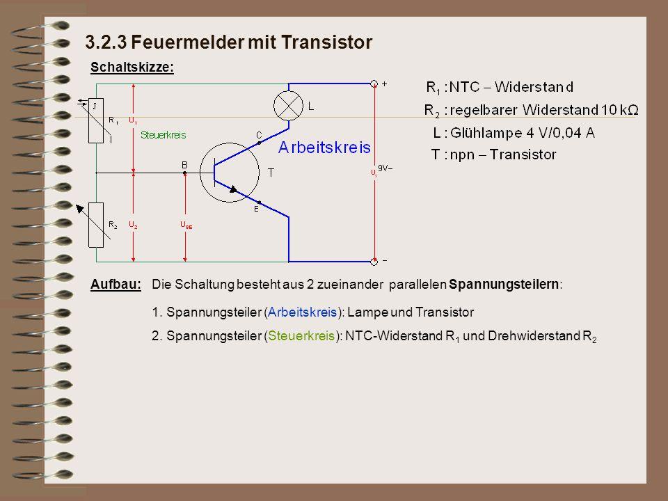Schaltskizze: Aufbau:Die Schaltung besteht aus 2 zueinander parallelen Spannungsteilern: 1.