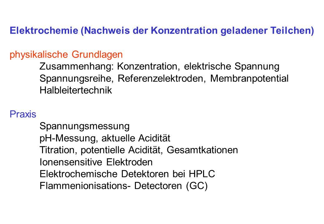 Elektrochemie (Nachweis der Konzentration geladener Teilchen) physikalische Grundlagen Zusammenhang: Konzentration, elektrische Spannung Spannungsreih