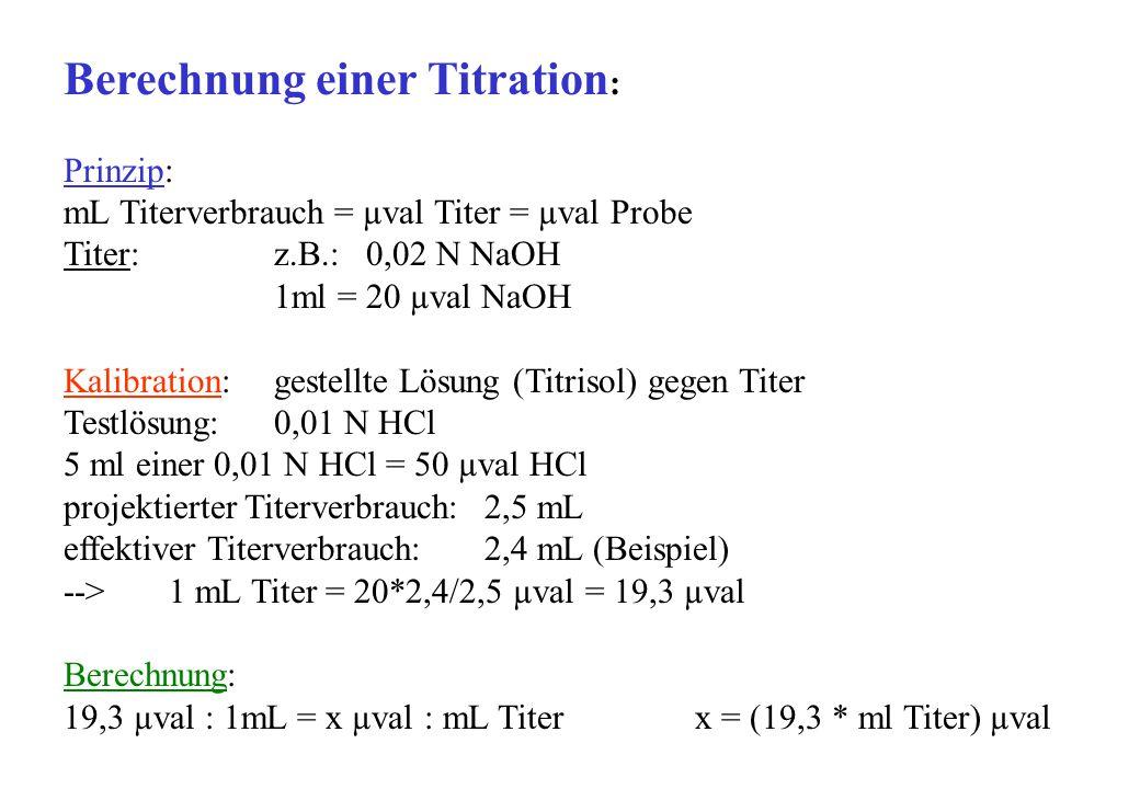 Berechnung einer Titration : Prinzip: mL Titerverbrauch = µval Titer = µval Probe Titer: z.B.: 0,02 N NaOH 1ml = 20 µval NaOH Kalibration:gestellte Lösung (Titrisol) gegen Titer Testlösung:0,01 N HCl 5 ml einer 0,01 N HCl = 50 µval HCl projektierter Titerverbrauch:2,5 mL effektiver Titerverbrauch: 2,4 mL (Beispiel) --> 1 mL Titer = 20*2,4/2,5 µval = 19,3 µval Berechnung: 19,3 µval : 1mL = x µval : mL Titer x = (19,3 * ml Titer) µval