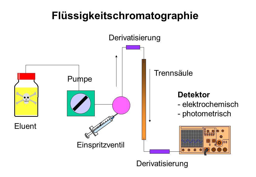 Eluent Pumpe Einspritzventil Trennsäule Detektor - elektrochemisch - photometrisch Flüssigkeitschromatographie Derivatisierung