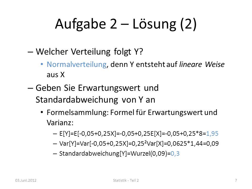 Aufgabe 2 – Lösung (2) – Welcher Verteilung folgt Y.