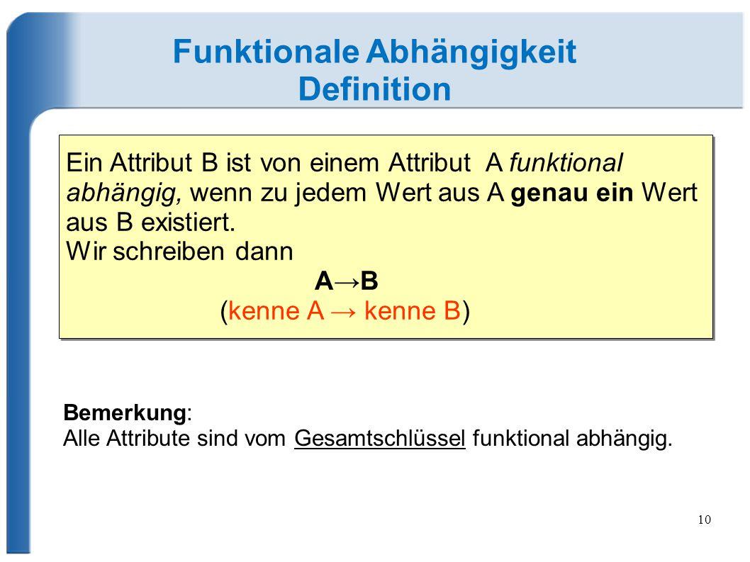 10 Funktionale Abhängigkeit Definition Ein Attribut B ist von einem Attribut A funktional abhängig, wenn zu jedem Wert aus A genau ein Wert aus B existiert.