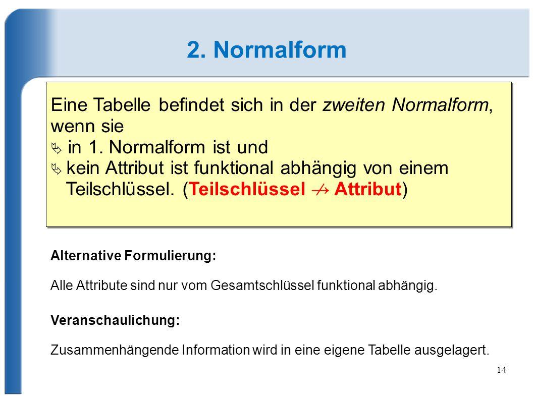14 2.Normalform Eine Tabelle befindet sich in der zweiten Normalform, wenn sie  in 1.