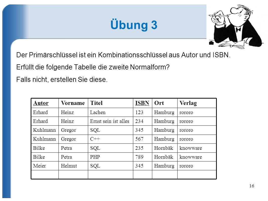 16 Übung 3 Der Primärschlüssel ist ein Kombinationsschlüssel aus Autor und ISBN.