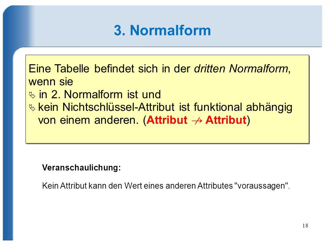18 3.Normalform Eine Tabelle befindet sich in der dritten Normalform, wenn sie  in 2.
