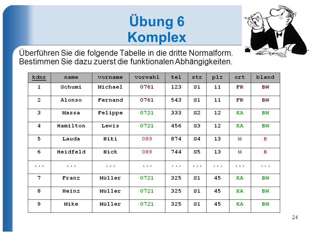 24 Übung 6 Komplex Überführen Sie die folgende Tabelle in die dritte Normalform.