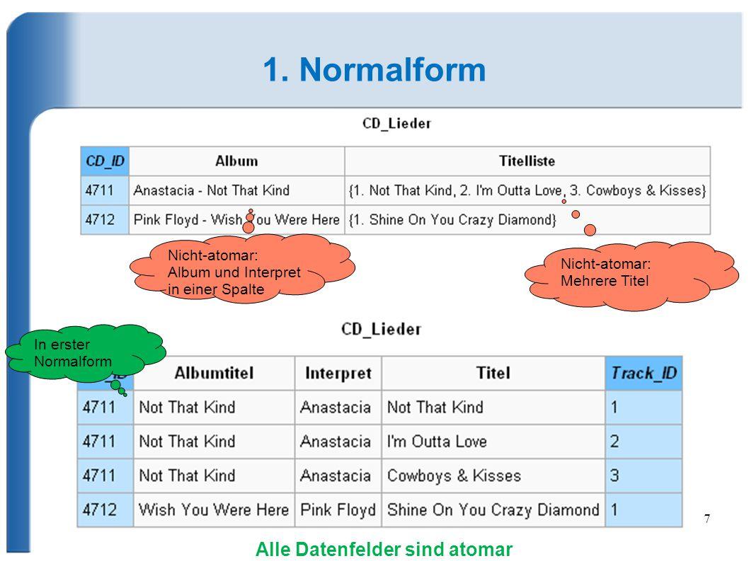 7 1. Normalform Nicht-atomar: Album und Interpret in einer Spalte Nicht-atomar: Mehrere Titel In erster Normalform Alle Datenfelder sind atomar