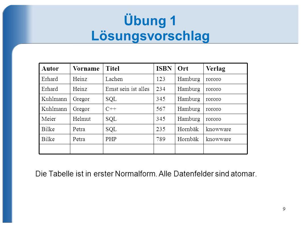 9 Übung 1 Lösungsvorschlag Die Tabelle ist in erster Normalform.