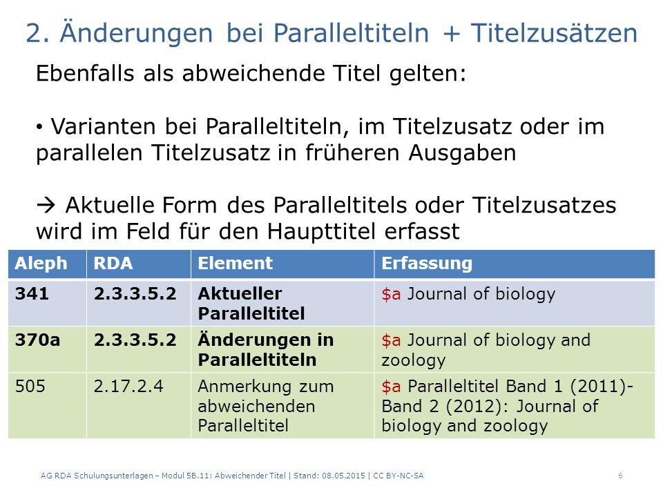 AG RDA Schulungsunterlagen – Modul 5B.11: Abweichender Titel | Stand: 08.05.2015 | CC BY-NC-SA6 AlephRDAElementErfassung 3412.3.3.5.2Aktueller Paralle