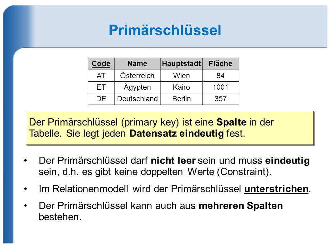 Primärschlüssel Der Primärschlüssel darf nicht leer sein und muss eindeutig sein, d.h.