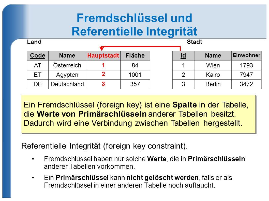 Fremdschlüssel und Referentielle Integrität Referentielle Integrität (foreign key constraint).