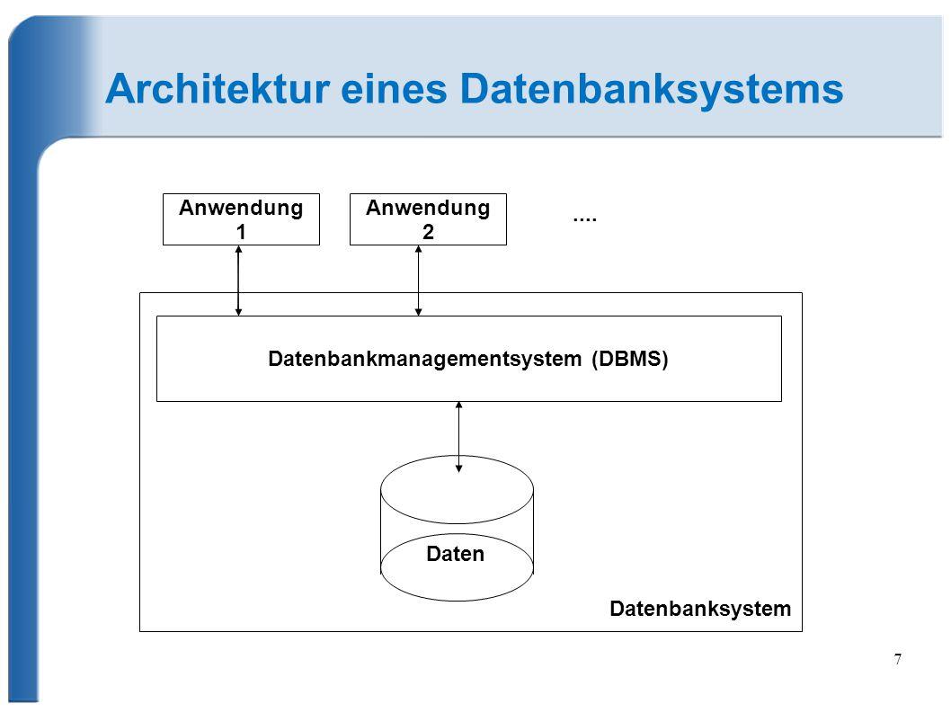7 Architektur eines Datenbanksystems Daten Datenbankmanagementsystem (DBMS) Datenbanksystem Anwendung 1....