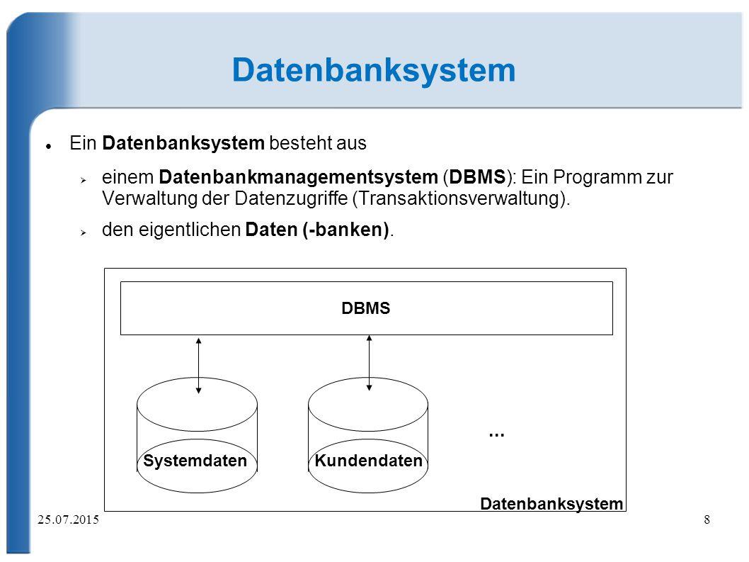 25.07.20158 Datenbanksystem Ein Datenbanksystem besteht aus  einem Datenbankmanagementsystem (DBMS): Ein Programm zur Verwaltung der Datenzugriffe (Transaktionsverwaltung).