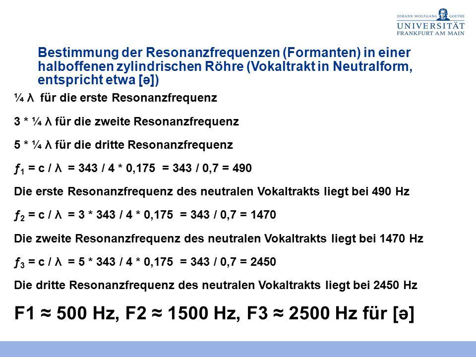 Bestimmung der Resonanzfrequenzen in einer halboffenen zylindrischen Röhre (Vokaltrakt in Neutralform, entspricht etwa [ə]) λ Wellenlänge 4 * 0,175 m