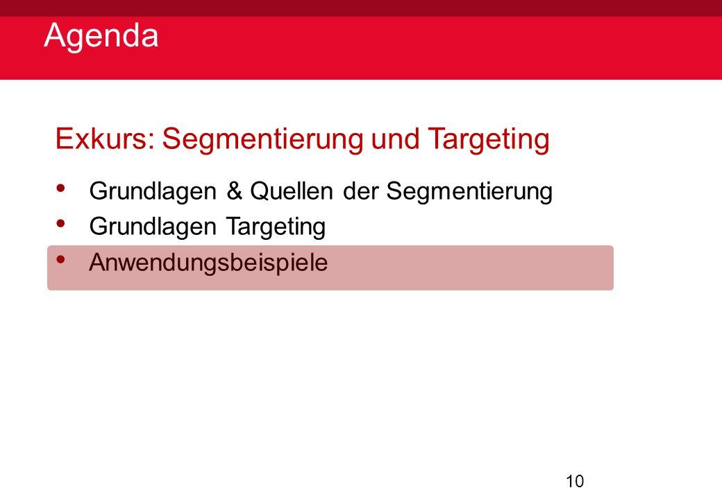 10 Agenda Exkurs: Segmentierung und Targeting Grundlagen & Quellen der Segmentierung Grundlagen Targeting Anwendungsbeispiele