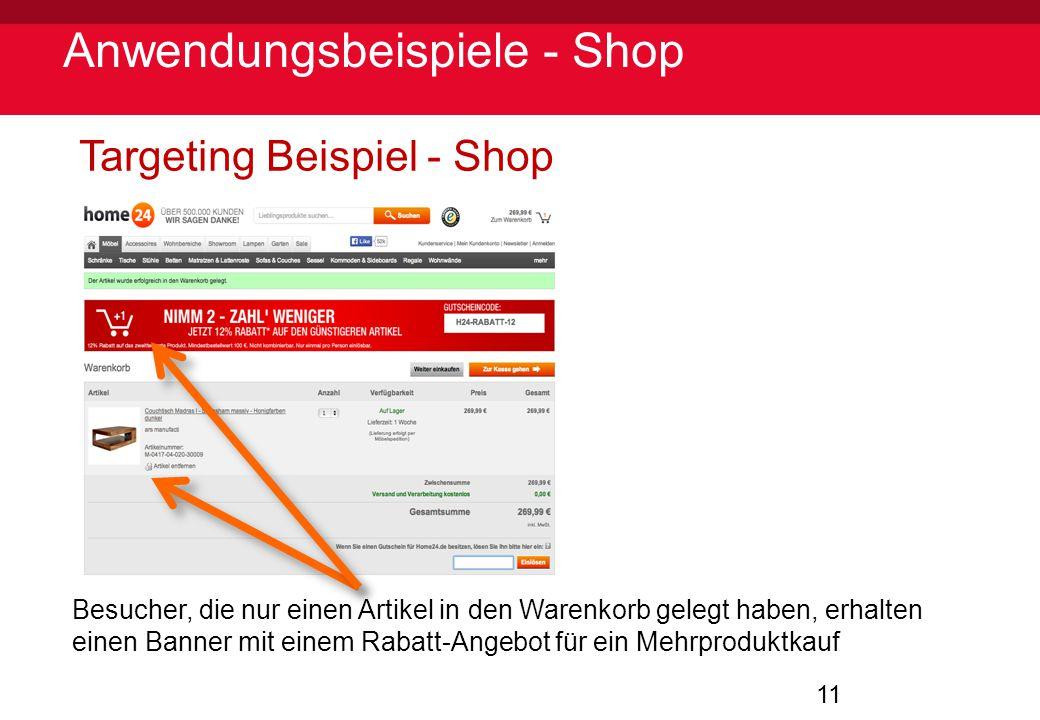11 Anwendungsbeispiele - Shop Targeting Beispiel - Shop Besucher, die nur einen Artikel in den Warenkorb gelegt haben, erhalten einen Banner mit einem