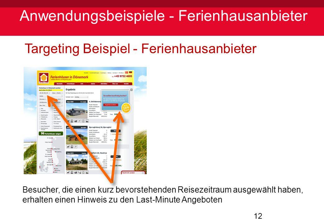 12 Anwendungsbeispiele - Ferienhausanbieter Targeting Beispiel - Ferienhausanbieter Besucher, die einen kurz bevorstehenden Reisezeitraum ausgewählt h