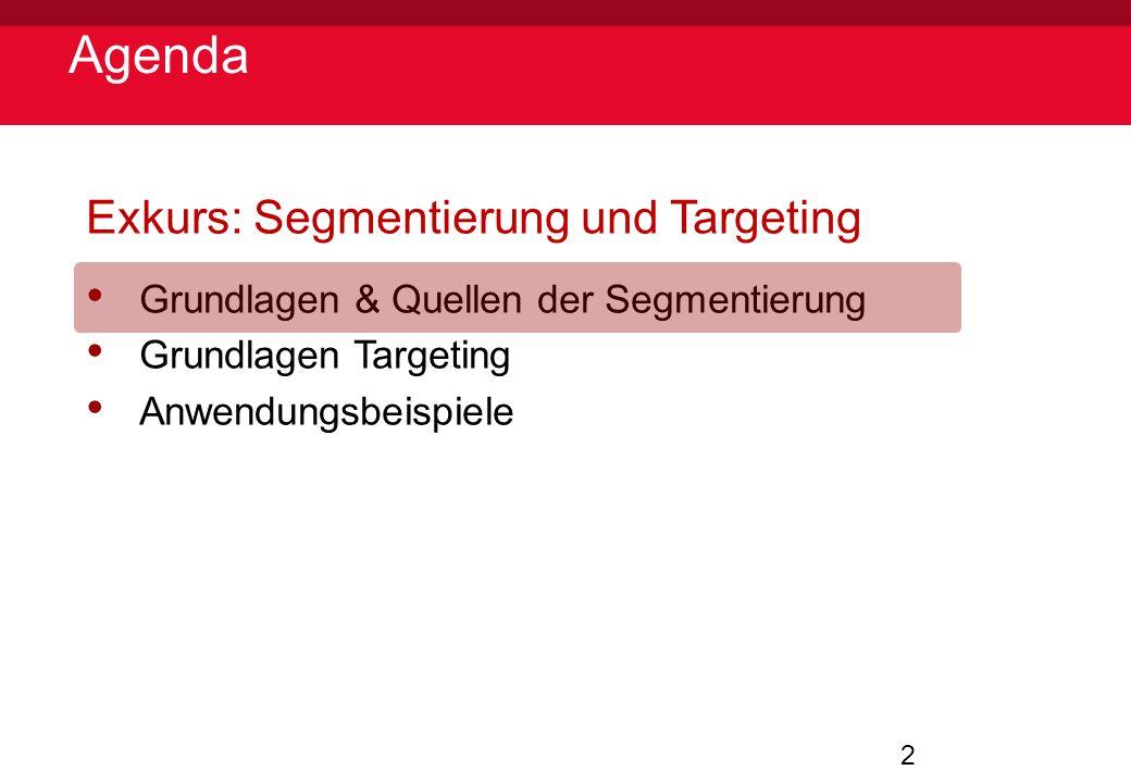 2 Agenda Exkurs: Segmentierung und Targeting Grundlagen & Quellen der Segmentierung Grundlagen Targeting Anwendungsbeispiele