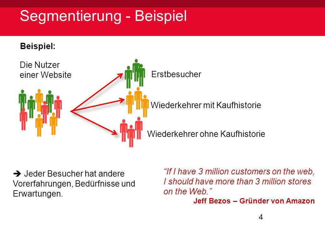 """4 Segmentierung - Beispiel Die Nutzer einer Website Beispiel: Erstbesucher Wiederkehrer mit Kaufhistorie Wiederkehrer ohne Kaufhistorie """"If I have 3 m"""