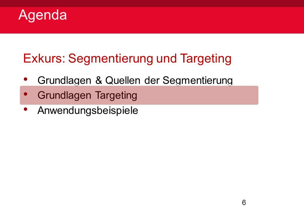 6 Agenda Exkurs: Segmentierung und Targeting Grundlagen & Quellen der Segmentierung Grundlagen Targeting Anwendungsbeispiele