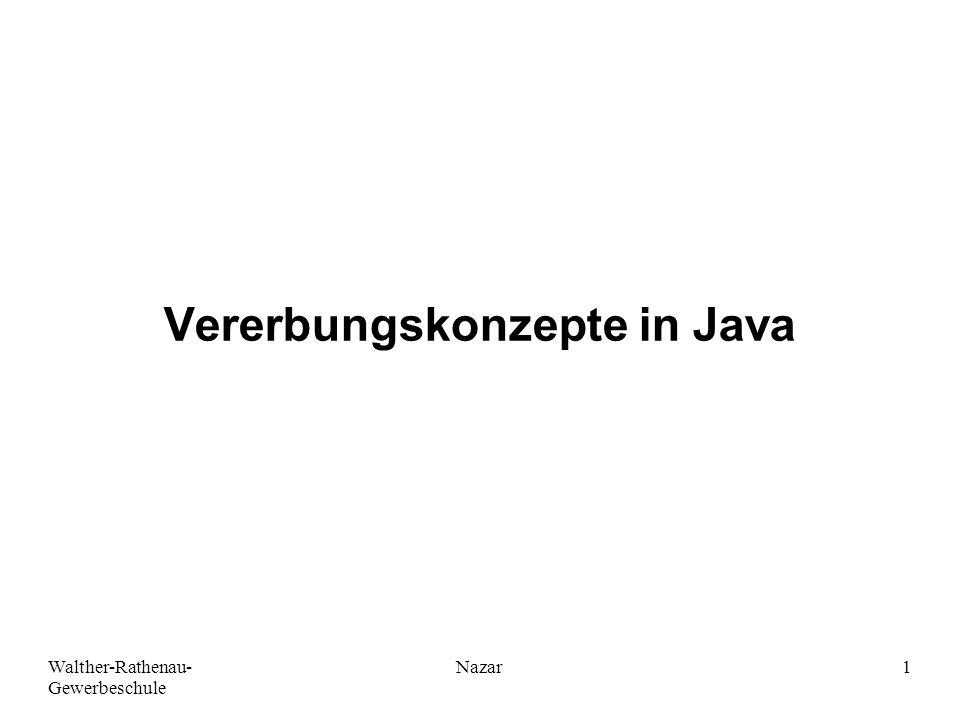 Walther-Rathenau- Gewerbeschule Nazar1 Vererbungskonzepte in Java