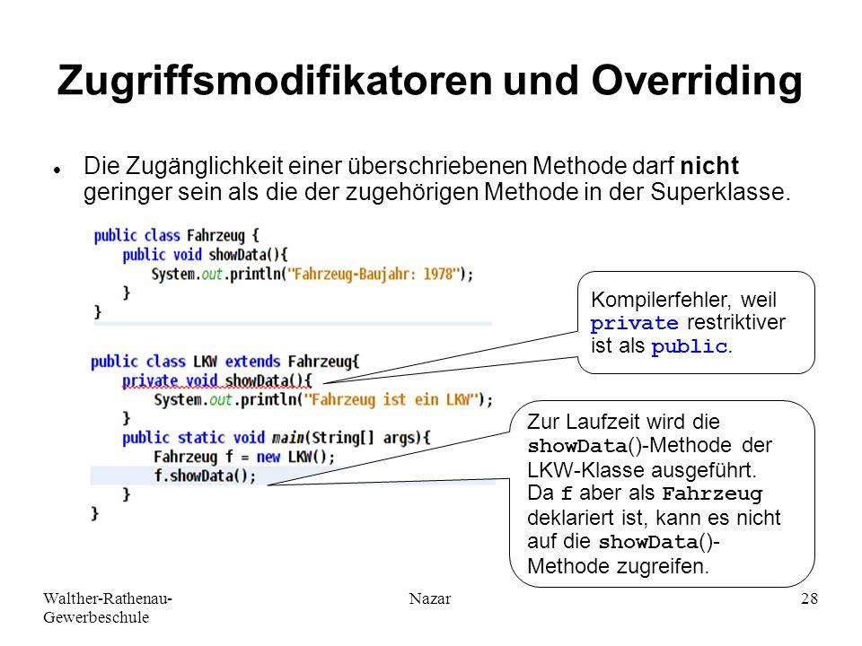 Walther-Rathenau- Gewerbeschule Nazar28 Zugriffsmodifikatoren und Overriding Die Zugänglichkeit einer überschriebenen Methode darf nicht geringer sein als die der zugehörigen Methode in der Superklasse.