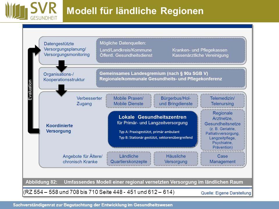 Sachverständigenrat zur Begutachtung der Entwicklung im Gesundheitswesen Modell für ländliche Regionen (RZ 554 – 558 und 708 bis 710 Seite 448 - 451 u