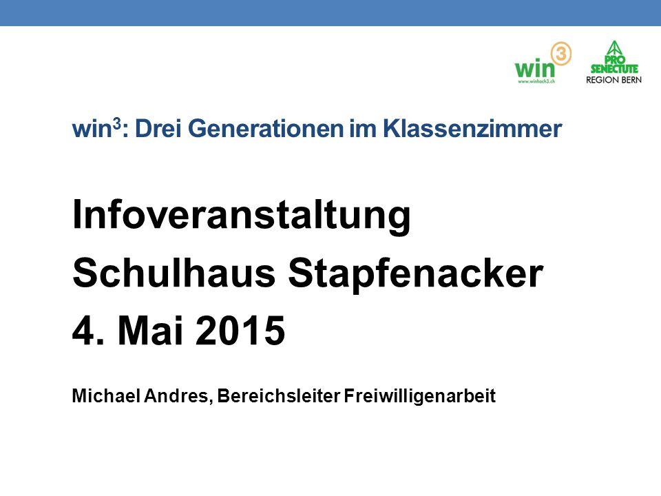 win 3 : Drei Generationen im Klassenzimmer Infoveranstaltung Schulhaus Stapfenacker 4. Mai 2015 Michael Andres, Bereichsleiter Freiwilligenarbeit