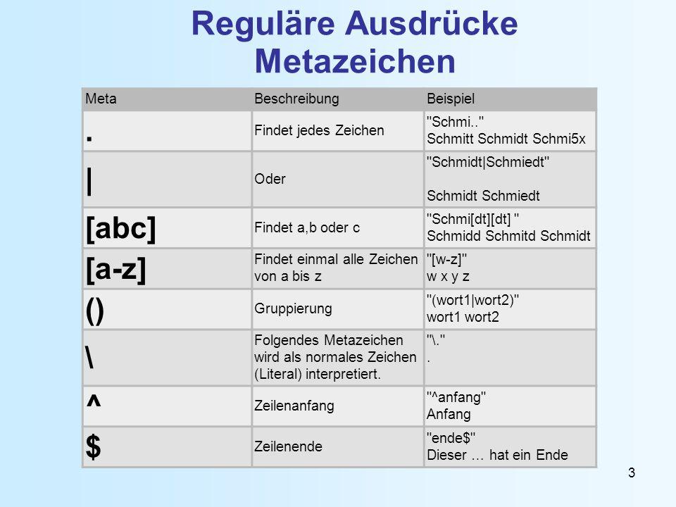 3 Reguläre Ausdrücke Metazeichen MetaBeschreibungBeispiel. Findet jedes Zeichen
